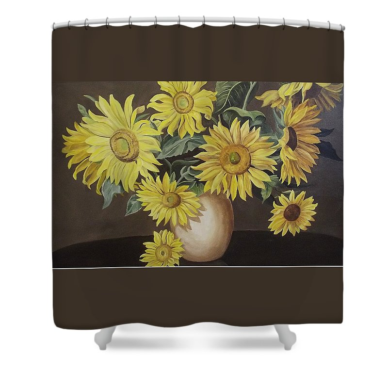 Flowers Shower Curtain featuring the painting Sunshine And Sunflowers by Wanda Dansereau
