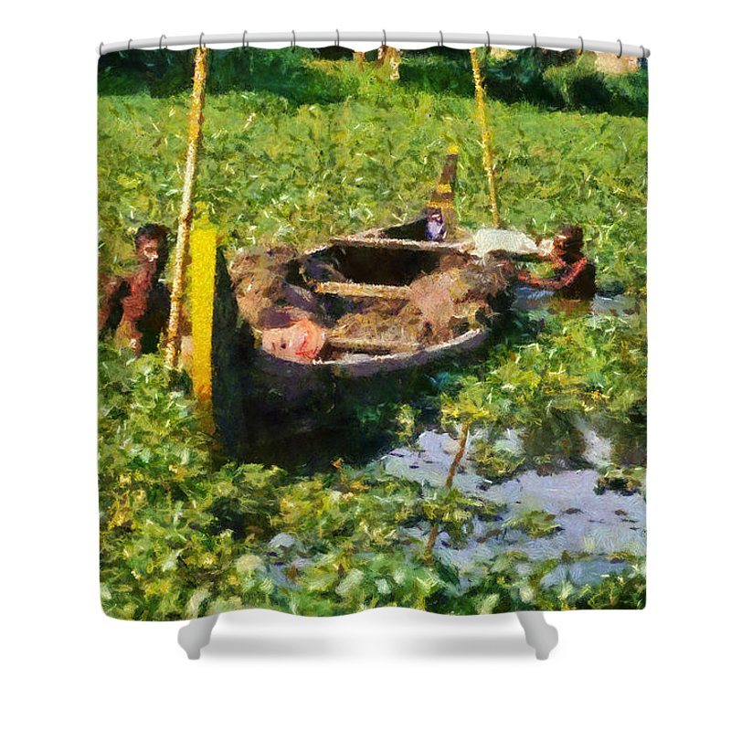 Man; Men; Adults; Dig; Digging; Bottom; Mud; Clay; Sludge; India; Kerala; Boat; River; Canal; Backwaters; Water; Asia; East; Eastern; Holidays; Vacation; Travel; Trip; Voyage; Journey; Tourism; Touristic; Paint; Painting; Paintings Shower Curtain featuring the painting Taking Mud From The Bottom Of The Canal by George Atsametakis