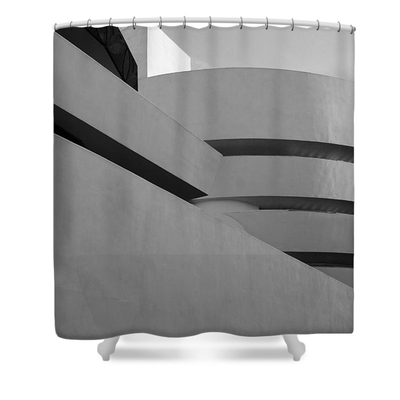 Scenic Shower Curtain featuring the photograph The Guggenheim In Black And White by Rob Hans