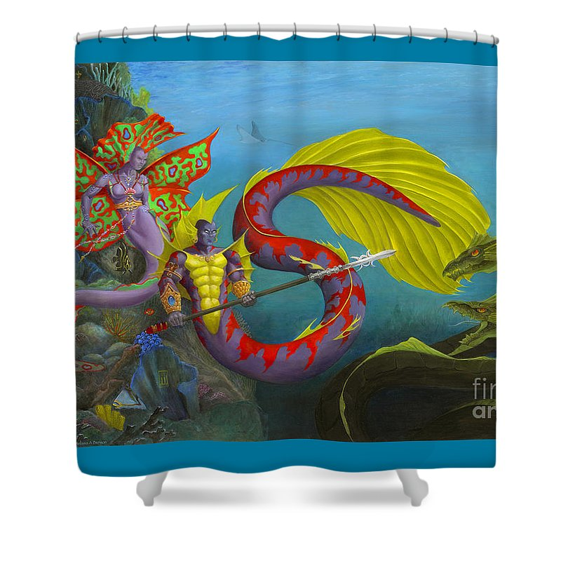 Mermaid Shower Curtain featuring the painting The Threat by Melissa A Benson