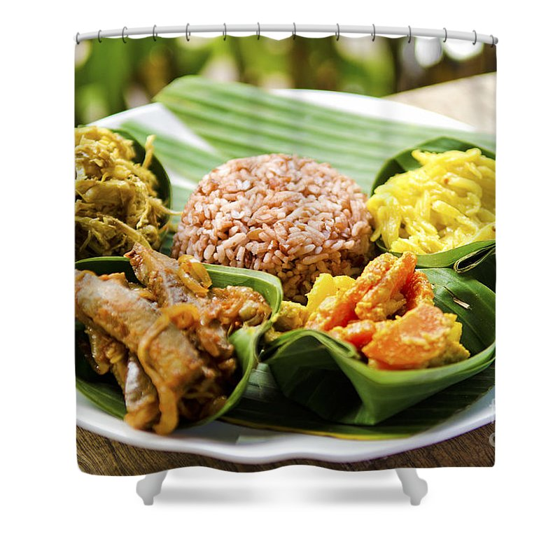 Asia Shower Curtain featuring the photograph Traditional Vegetarian Curry With Rice In Bali Indonesia by Jacek Malipan