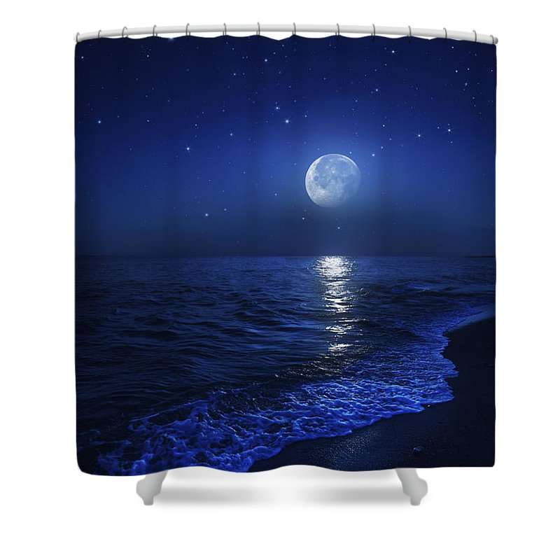 No People Shower Curtain featuring the photograph Tranquil Ocean At Night Against Starry by Evgeny Kuklev
