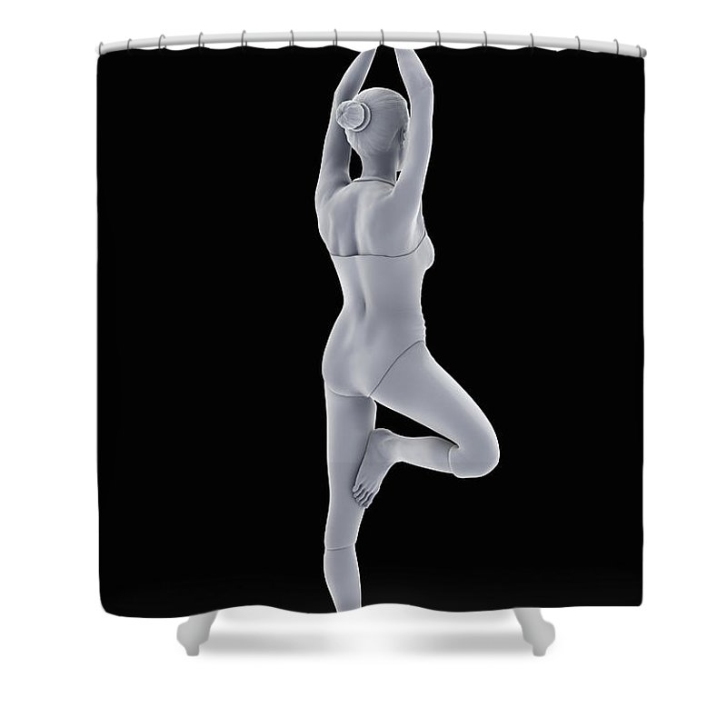 Agility Shower Curtain featuring the photograph Tree Yoga Pose by Science Picture Co