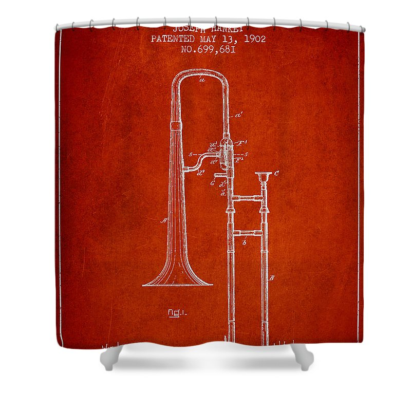 Trombone Shower Curtain featuring the digital art Trombone Patent From 1902 - Red by Aged Pixel