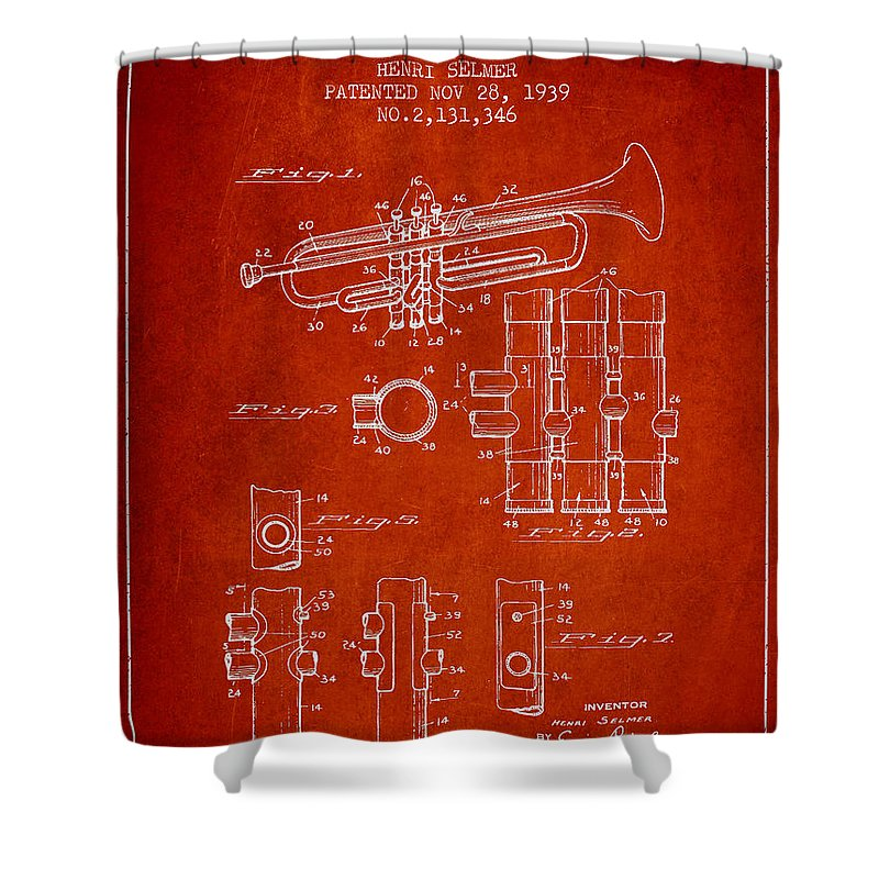 Trumpet Shower Curtain featuring the digital art Trumpet Patent From 1939 - Red by Aged Pixel