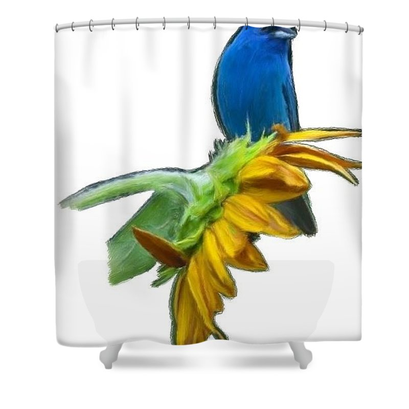 Blue Shower Curtain featuring the painting Tweet Tweet by Bruce Nutting