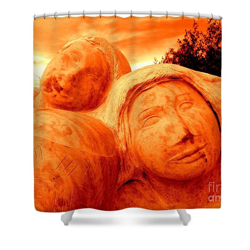 Statues Shower Curtain featuring the photograph Two Women by Ed Weidman