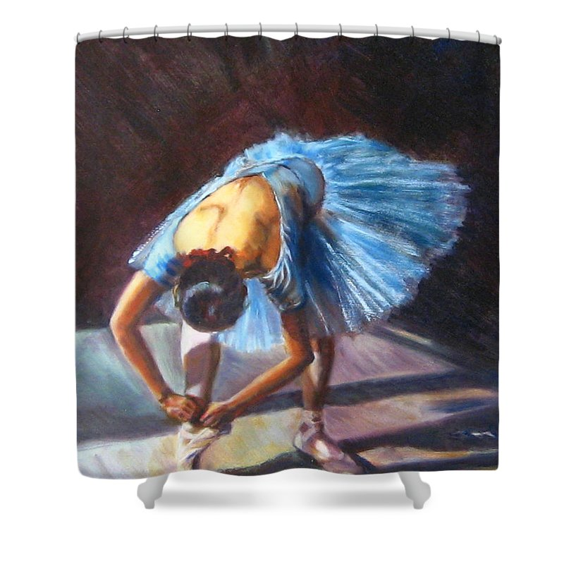 Ballet Shower Curtain featuring the painting Tying Shoes by Diane Quee