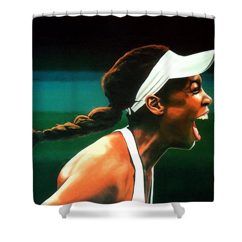 Venus Williams Shower Curtain featuring the painting Venus Williams by Paul Meijering