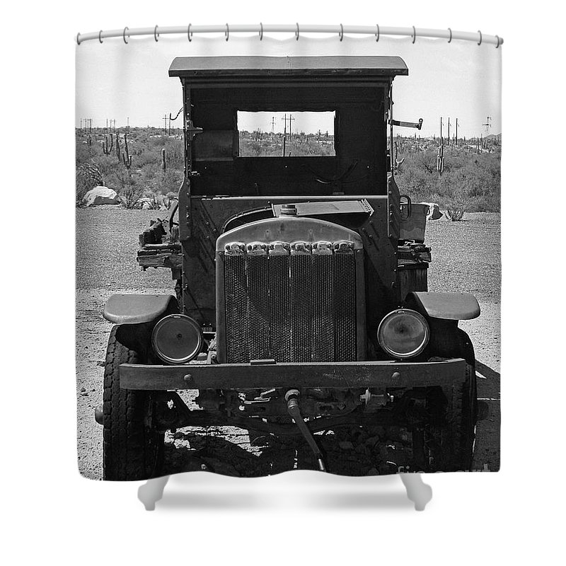 Vintage Car Shower Curtain featuring the photograph Vintage Stare Down by Kelly Holm