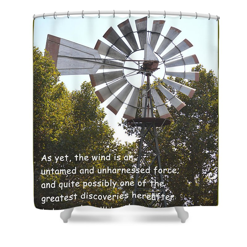 Barbara Snyder Shower Curtain featuring the digital art Windmill With Lincoln Quote by Barbara Snyder