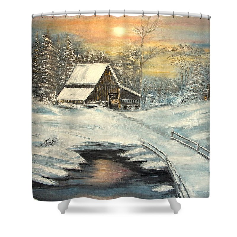 Winter Shower Curtain featuring the painting Winter by Kenneth LePoidevin