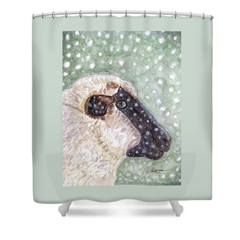 Christmas Shower Curtain featuring the painting Wishing Ewe A White Christmas by Angela Davies