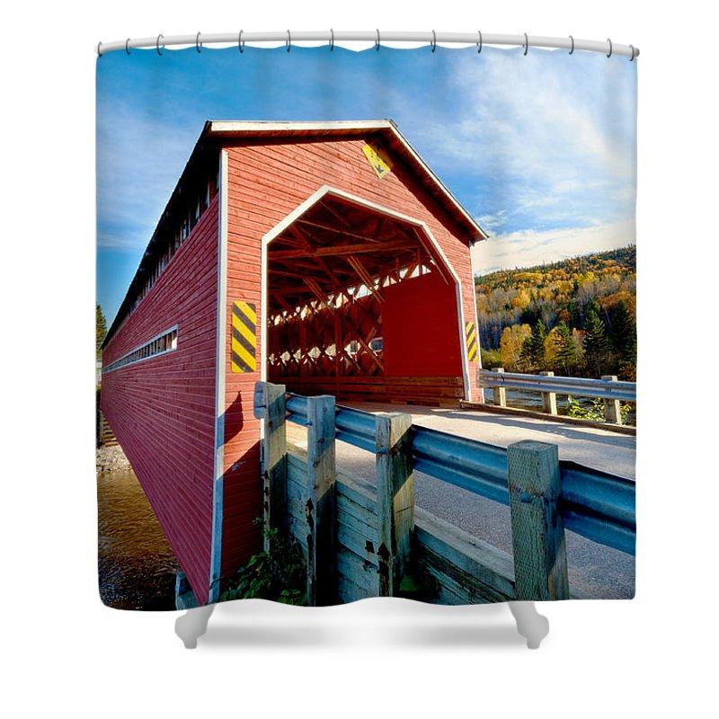 Bridge Shower Curtain featuring the photograph Wooden Covered Bridge by U Schade