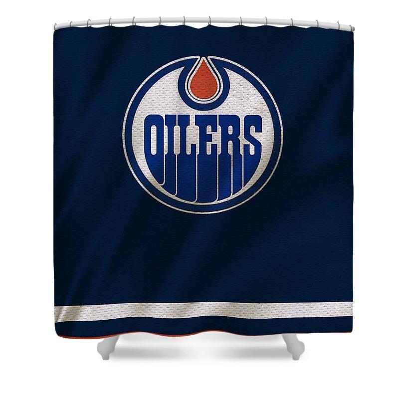 Oilers Shower Curtain featuring the photograph Edmonton Oilers by Joe Hamilton