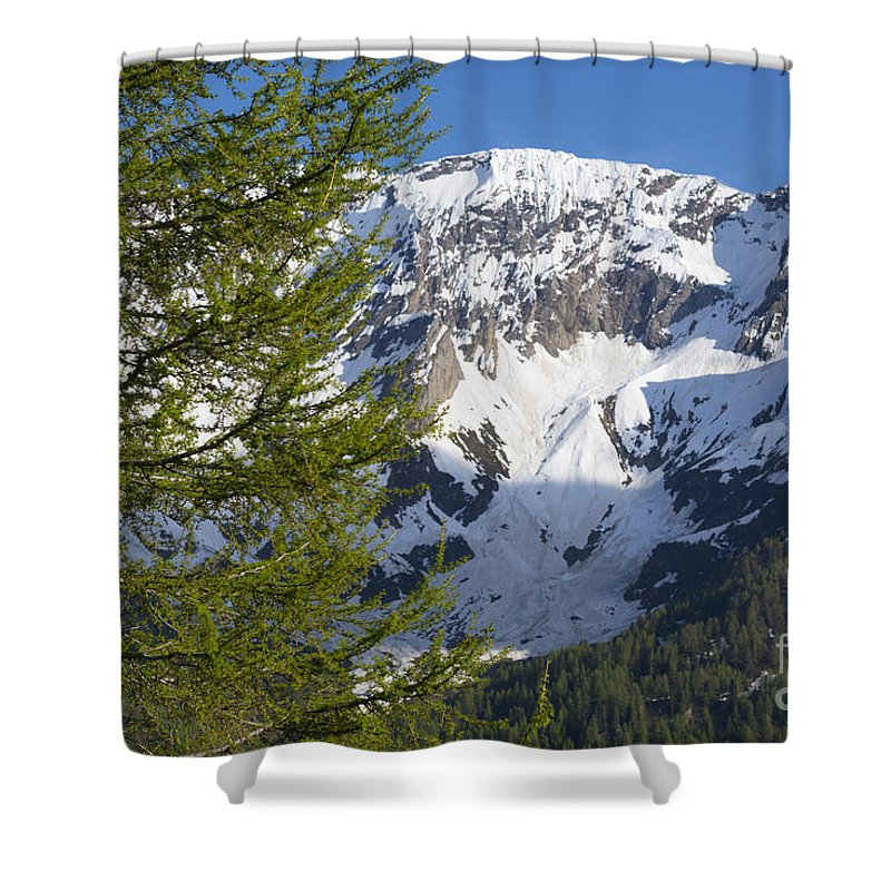 Snow-capped Shower Curtain featuring the photograph Snow-capped Mountain by Mats Silvan