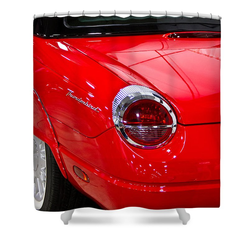 Classic Shower Curtain featuring the photograph 2002 Red Ford Thunderbird-rear Left by Eti Reid