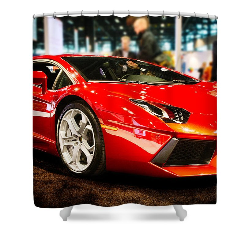 Lamborghini Shower Curtain Featuring The Photograph 2014 Sexy Italian By Ryan Crane