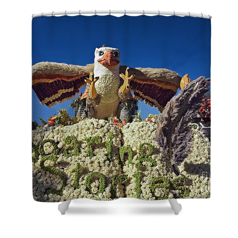 California Shower Curtain featuring the photograph 2015 Cal Poly Rose Parade Float 15rp055 by Howard Stapleton