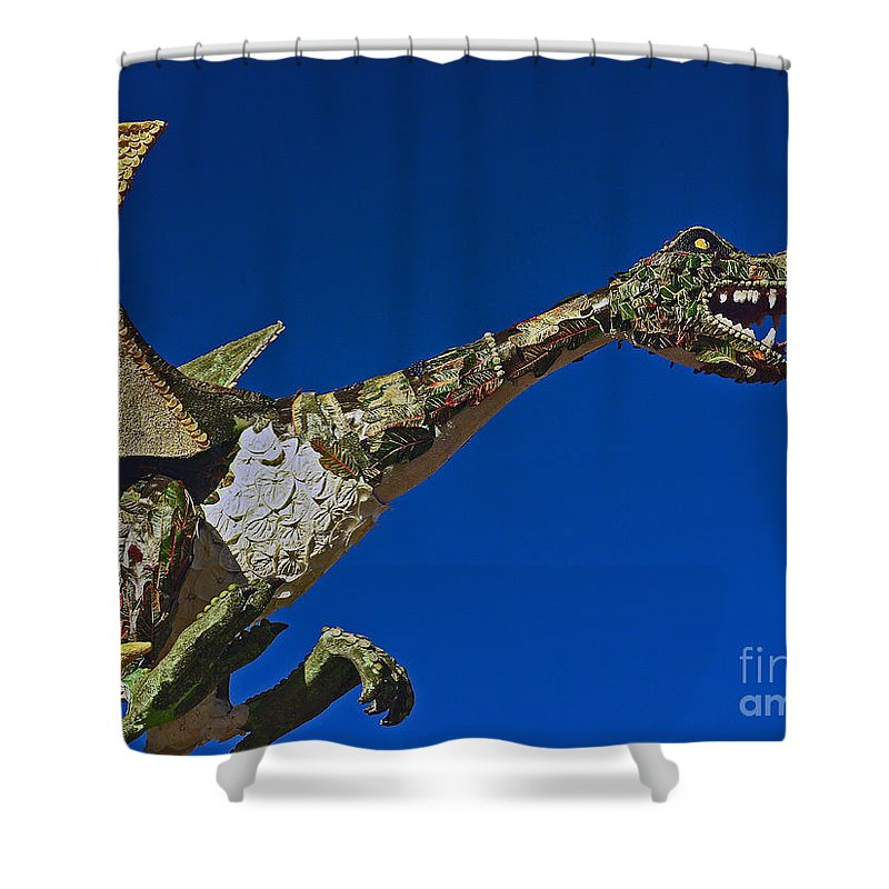 2015 Rose Parade Shower Curtain featuring the photograph 2015 Rose Parade Float Showing A Dragon 15rp039 by Howard Stapleton