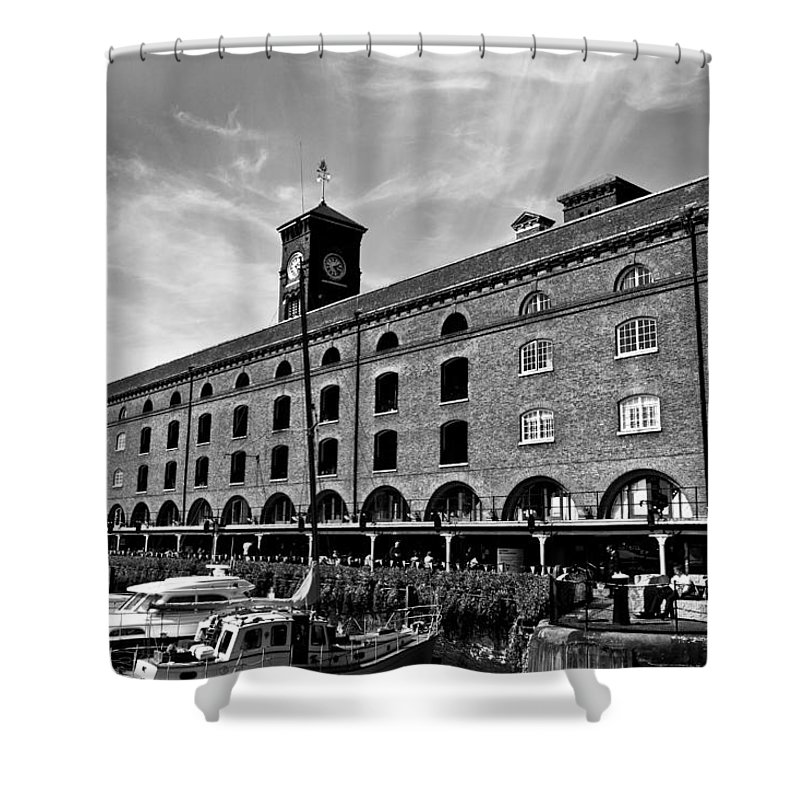 River Thames Shower Curtain featuring the photograph St Katherines Dock London by David Pyatt