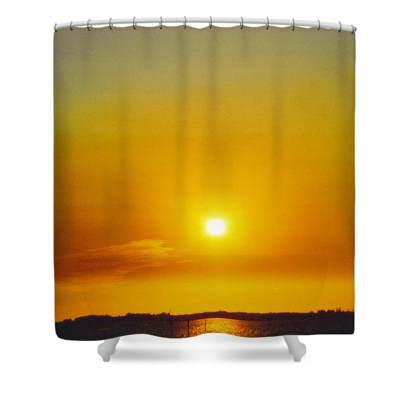 Golden Sunset Over Caloosahatchee River In Ft.myers Shower Curtain featuring the photograph Sky Scape by Robert Floyd