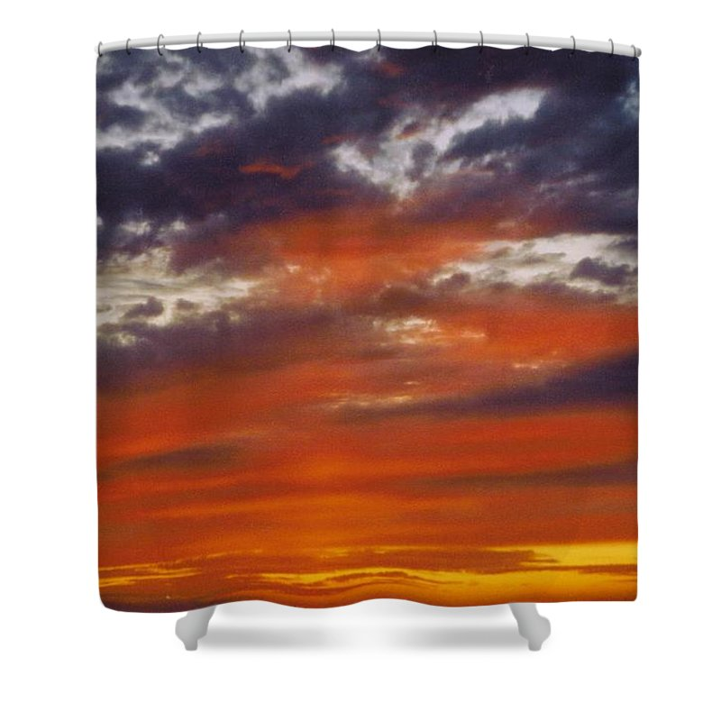 Gold And Streaked Orange Clouds Under Purple Shower Curtain featuring the photograph Sky Scape by Robert Floyd