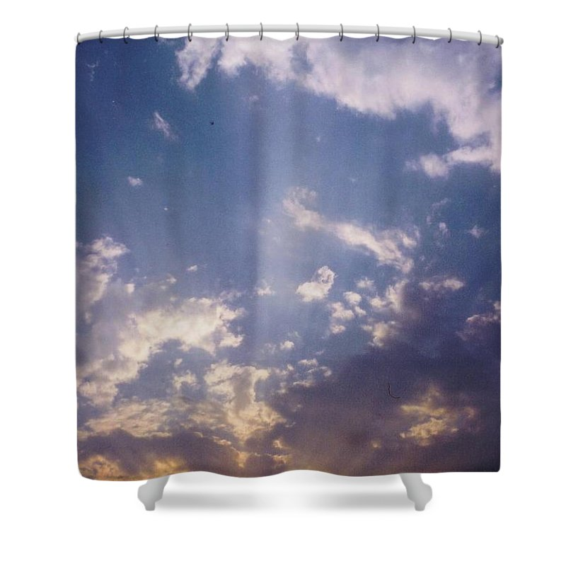 Suns Rays Shine Over Storm Clouds Shower Curtain featuring the photograph Sky Scape by Robert Floyd