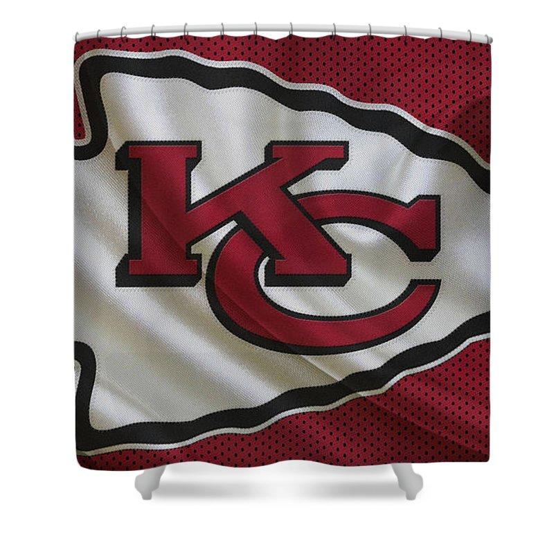 Chiefs Shower Curtain Featuring The Photograph Kansas City By Joe Hamilton