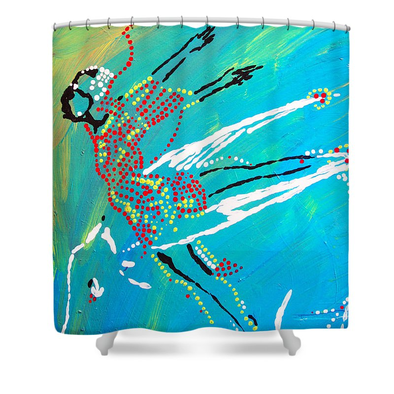 Jesus Shower Curtain featuring the painting Dinka Dance - South Sudan by Gloria Ssali