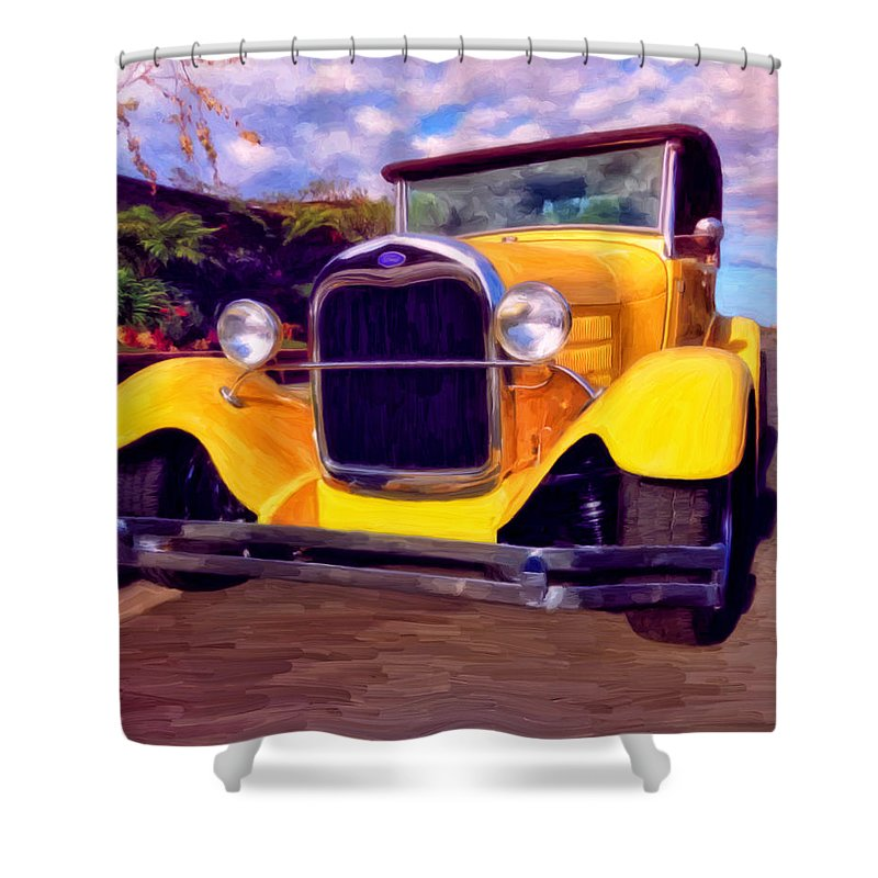 Resto Mod Shower Curtain featuring the painting '28 Ford Pick Up by Michael Pickett