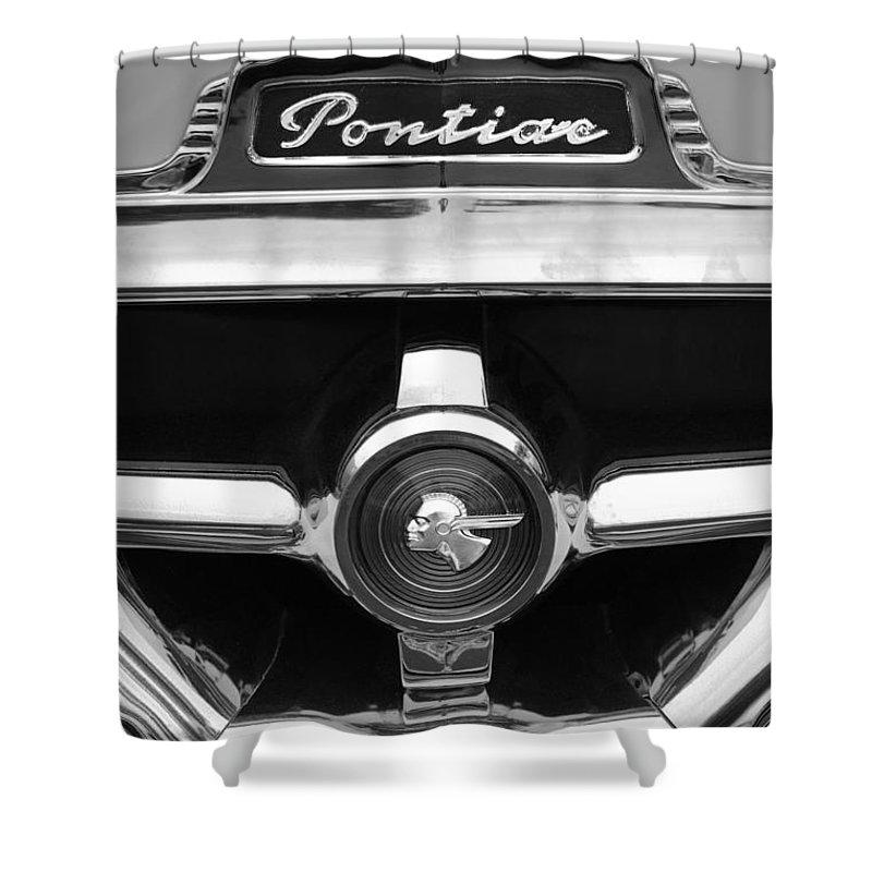 1951 Pontiac Streamliner Grille Emblem Shower Curtain featuring the photograph 1951 Pontiac Streamliner Grille Emblem by Jill Reger