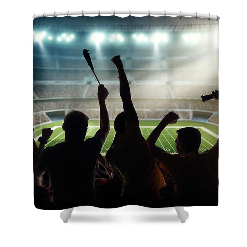 Event Shower Curtain featuring the photograph American Football Fans At Stadium by Dmytro Aksonov