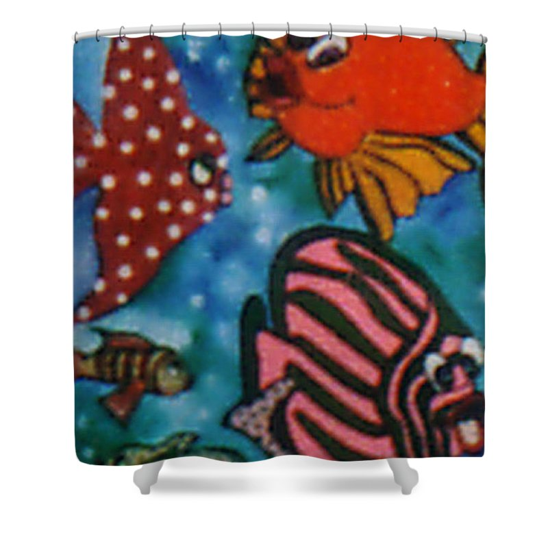 Pikotine Shower Curtain featuring the painting Art Fish by Pikotine Art