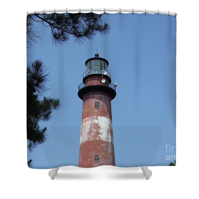 Lighthouse Shower Curtain featuring the photograph Assateague Lighthouse by Christiane Schulze Art And Photography