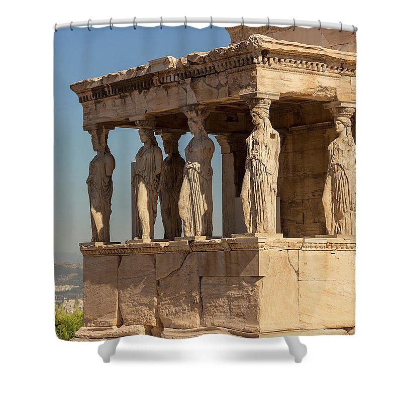 Photography Shower Curtain featuring the photograph Athens, Attica, Greece. Porch by Panoramic Images
