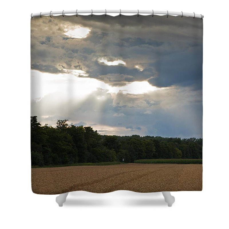 Wheat Shower Curtain featuring the photograph Breaking Storm by Ian Middleton