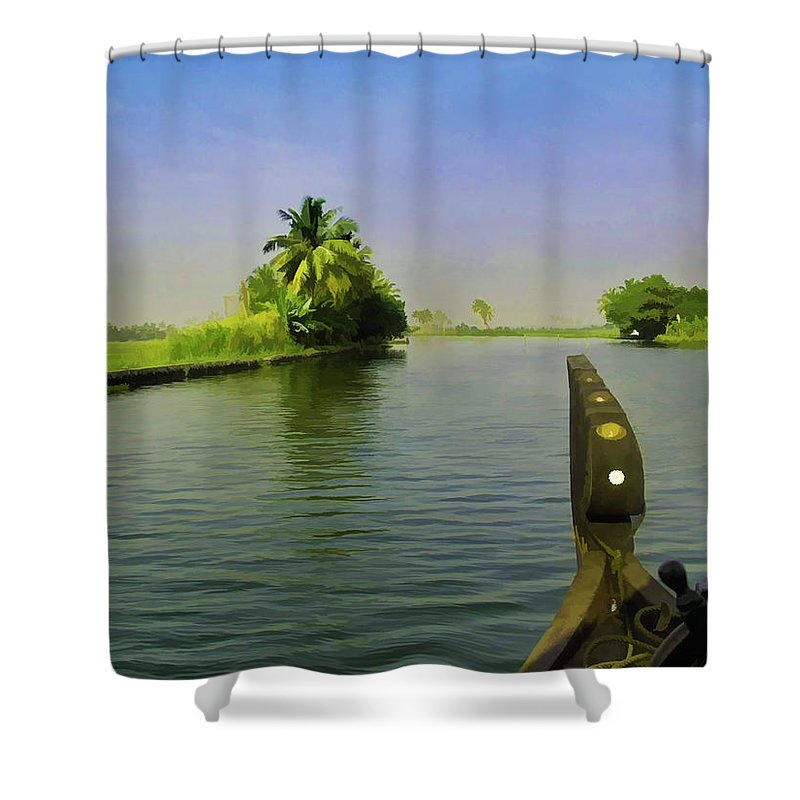 Backwater Shower Curtain featuring the digital art Captain Of The Houseboat Surveying Canal by Ashish Agarwal