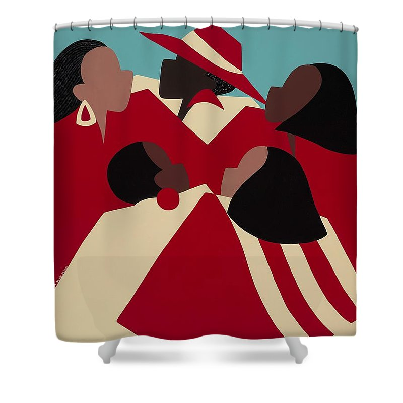 African American Shower Curtain featuring the painting Crimson And Cream by Synthia SAINT JAMES