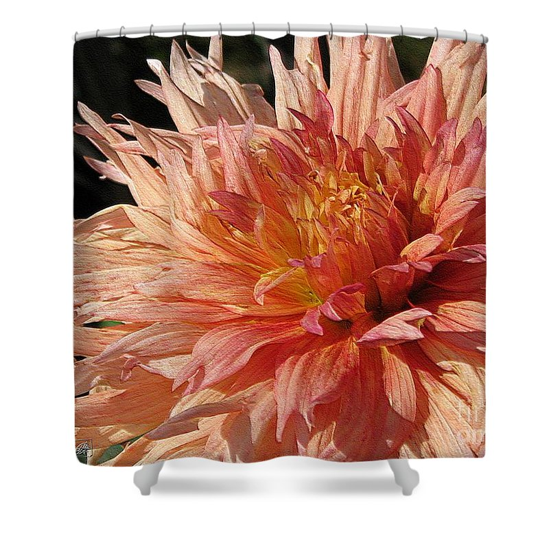 Dahlia Shower Curtain featuring the digital art Dahlia Named Intrepid by J McCombie