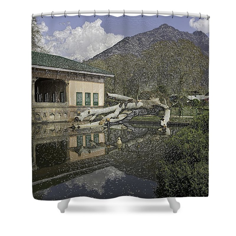Action Shower Curtain featuring the digital art Fallen Tree In Water Pool Inside The Shalimar Garden In Srinagar by Ashish Agarwal
