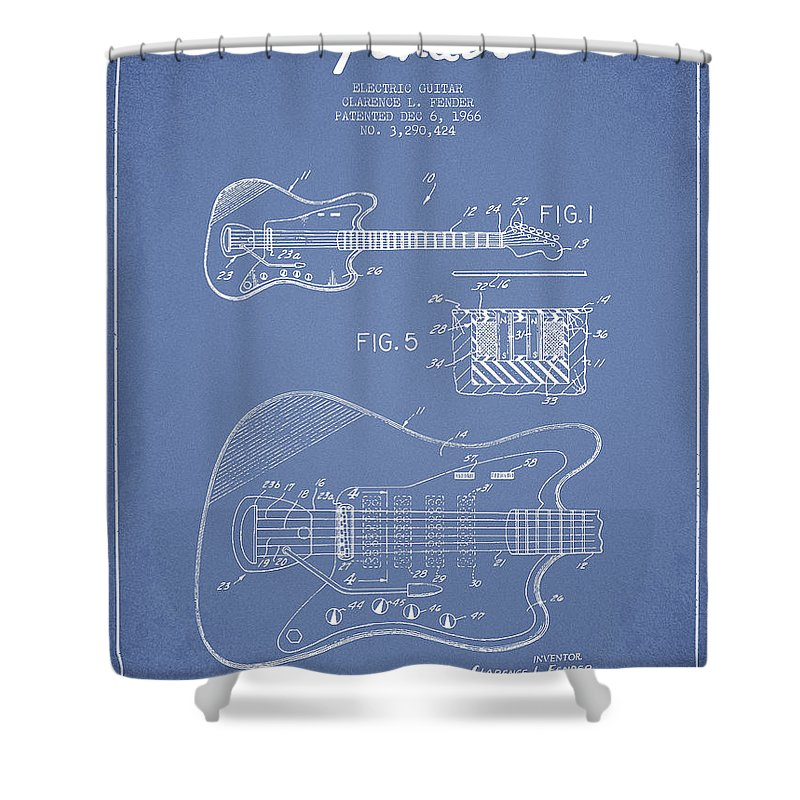 Fender Shower Curtain featuring the digital art Fender Electric Guitar Patent Drawing From 1966 by Aged Pixel
