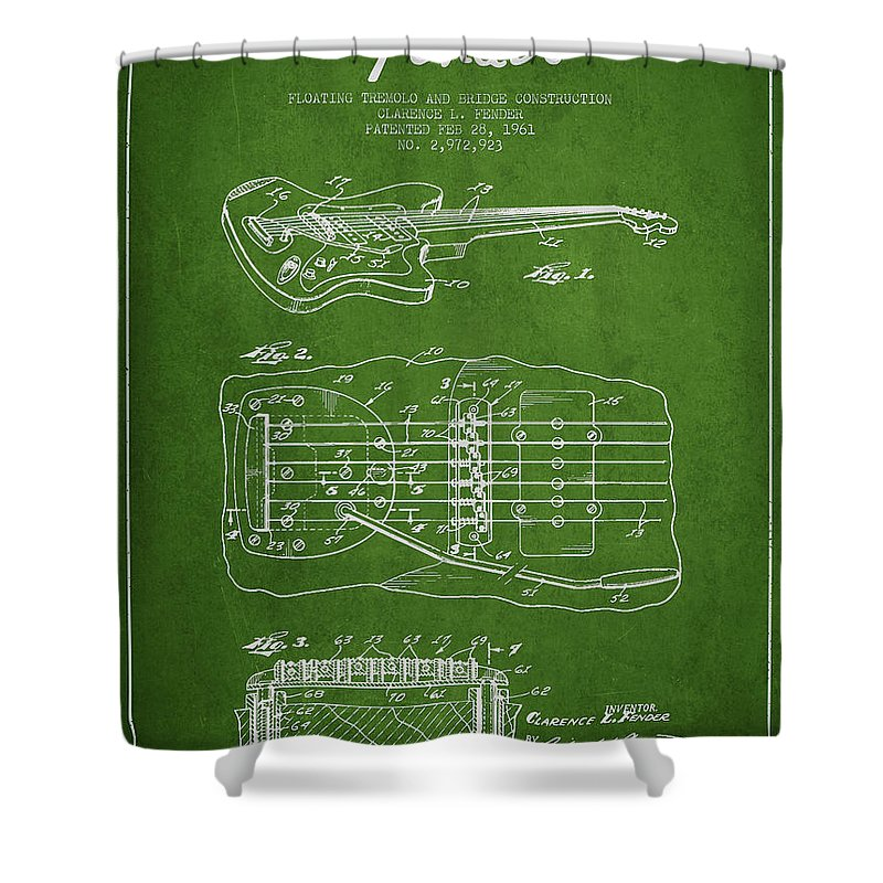Fender Shower Curtain featuring the digital art Fender Floating Tremolo Patent Drawing From 1961 - Green by Aged Pixel