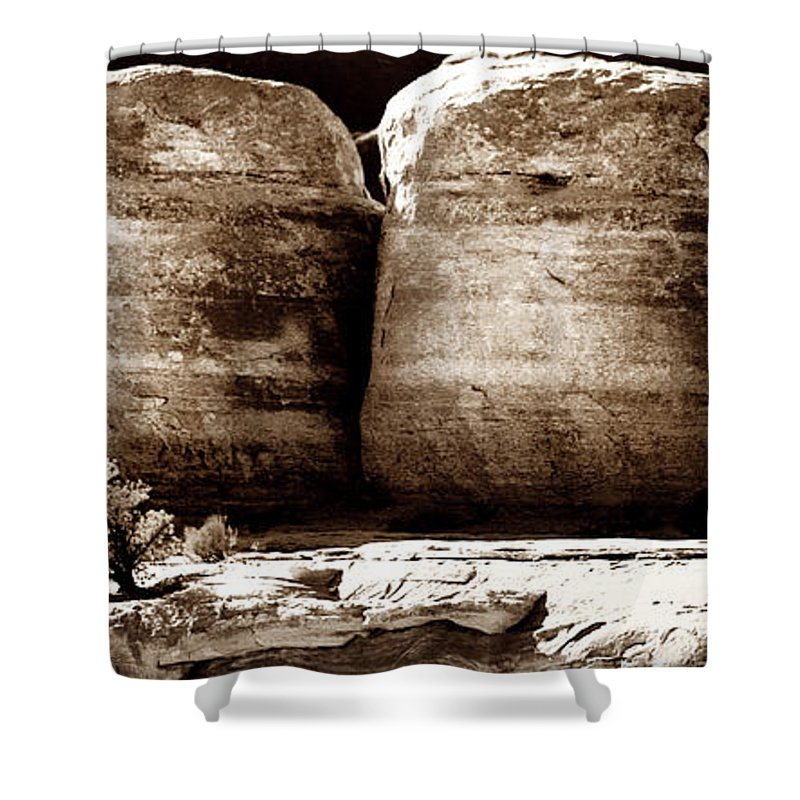 Geology Shower Curtain featuring the photograph Four Boulders by Marilyn Hunt