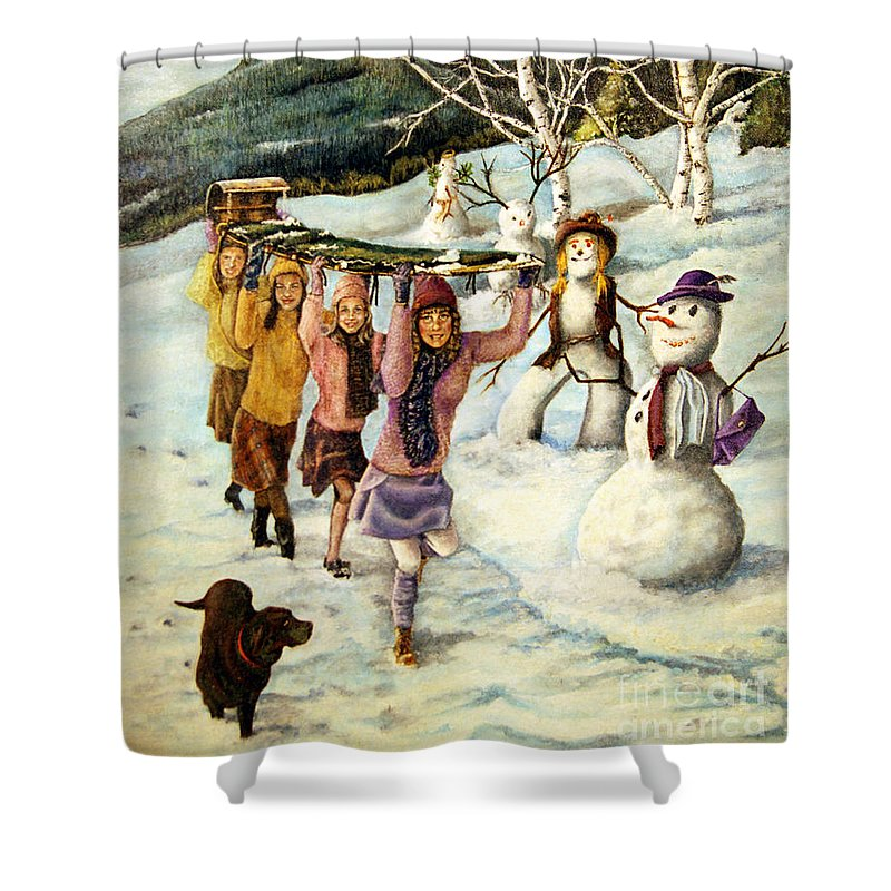Dog Shower Curtain featuring the painting Frosty Frolic by Linda Simon
