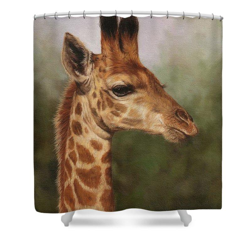 Giraffe Shower Curtain featuring the painting Giraffe by David Stribbling
