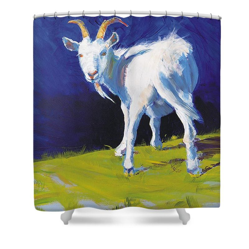 Goats Shower Curtain featuring the painting Goat by Mike Jory