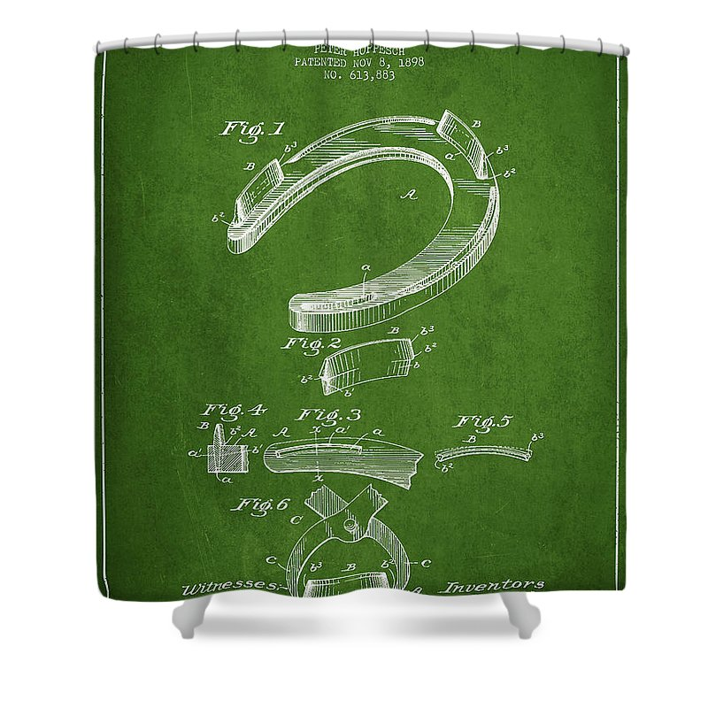 Horseshoe Shower Curtain featuring the digital art Horseshoe Patent Drawing From 1898 by Aged Pixel