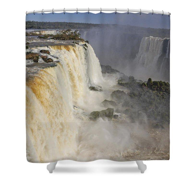 Brazil Shower Curtain featuring the photograph Iguassu Falls by Michele Burgess