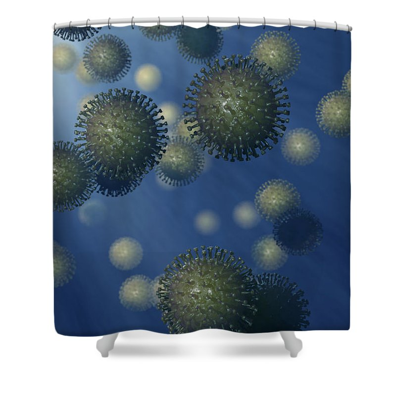 3d Visualisation Shower Curtain featuring the photograph Influenza A Virus by Science Picture Co